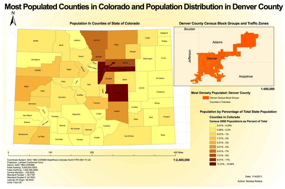 Map of Colorado population density by county.