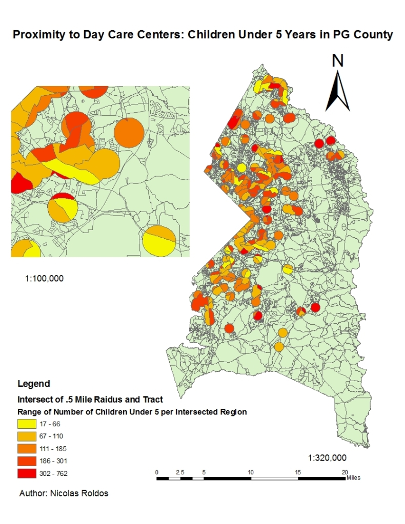 PG county buffer analysis: Children under 5 and their proximity to daycare facilities in Prince Georges county Maryland.