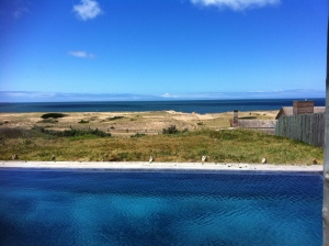 Infinity pool and beach near Punta Del Este at a private residence.