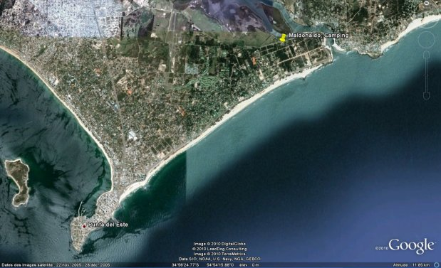 Punta Del Este via Google Earth: Photo credit Google Earth