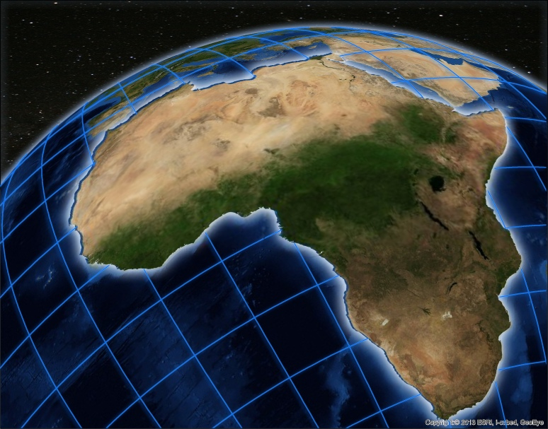World projection of Africa with Adobe Photoshop effects applied by Nico Roldos in Steve Benzek's editing ArcGIS maps with Photoshop workshop.
